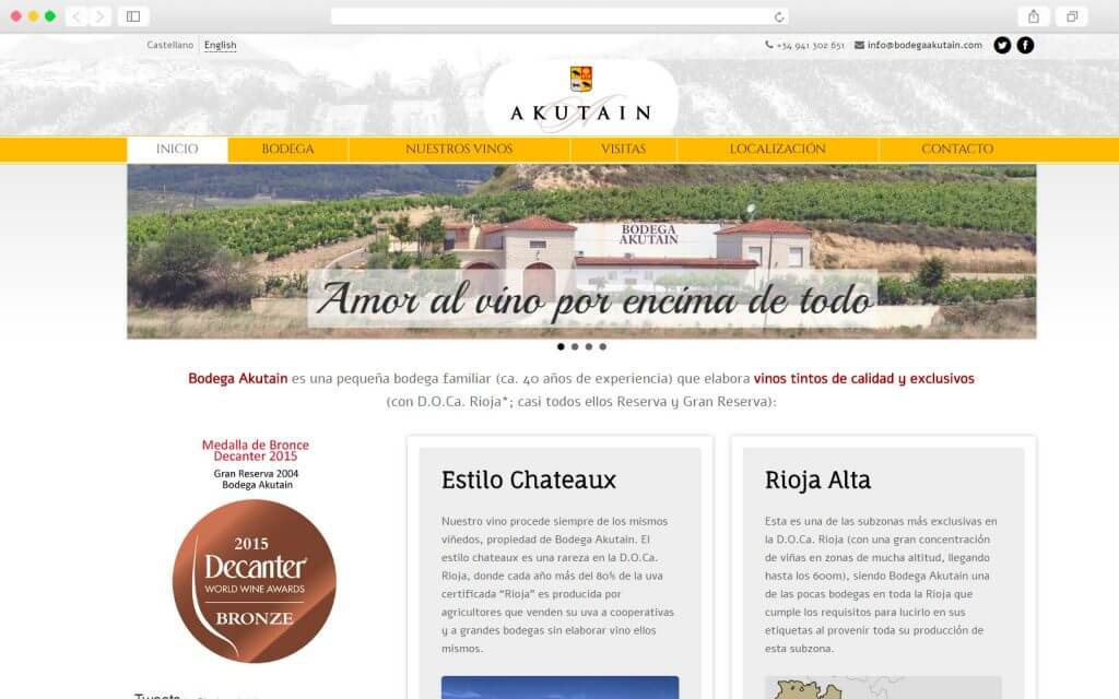 Proyecto Web para Bodega Akutain desarrollado por Agencia Web Fórmula Click