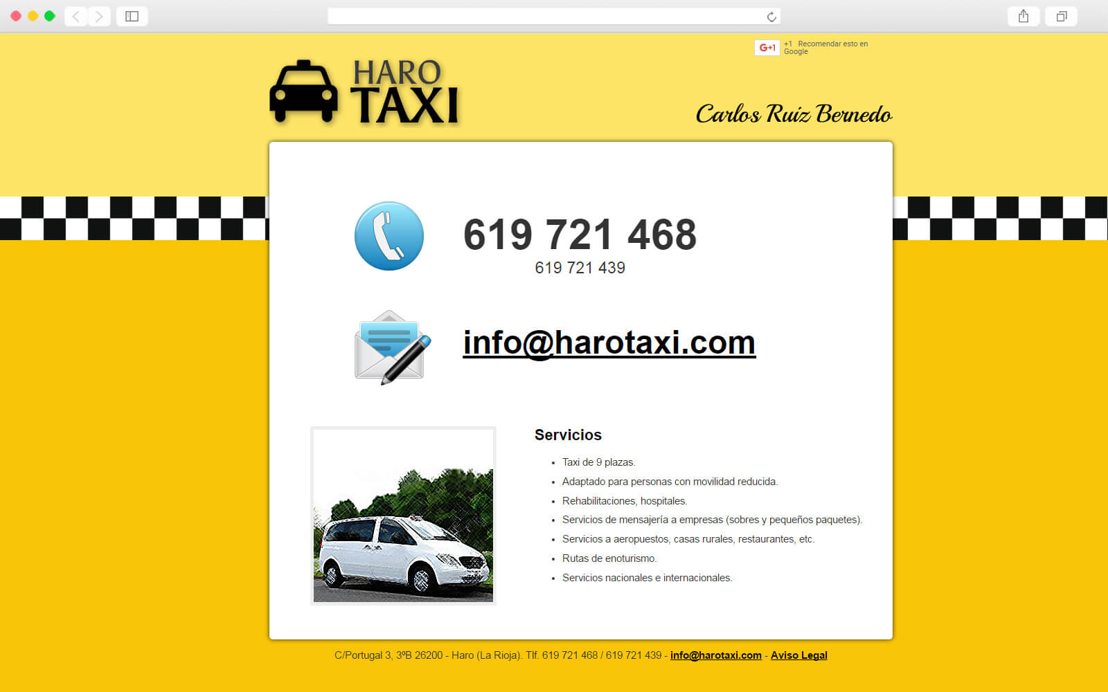 Página de Haro Taxi
