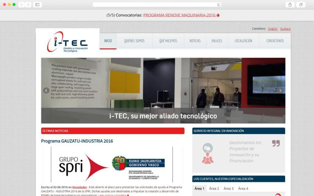 Trabajo de desarrollo Web para ITEC Consultoría