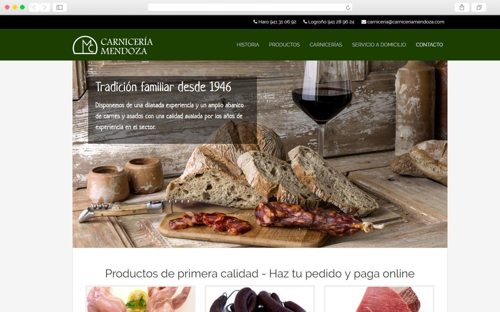 Sitio Web de Carnicería Mendoza