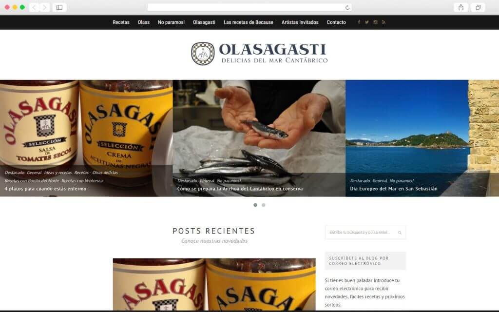 Desarrollo de blog para Conservas Olasagasti