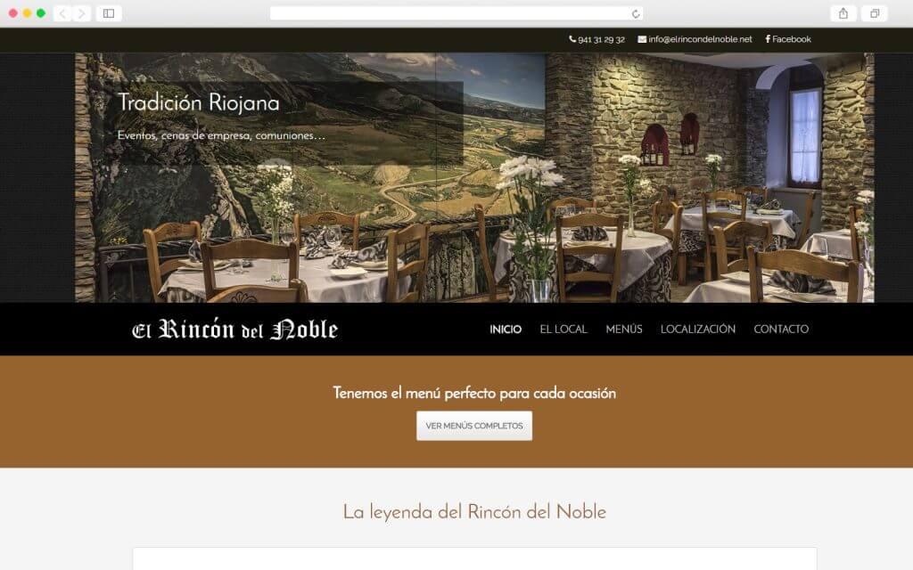 Home page del sitio Web de El Rincón del Noble
