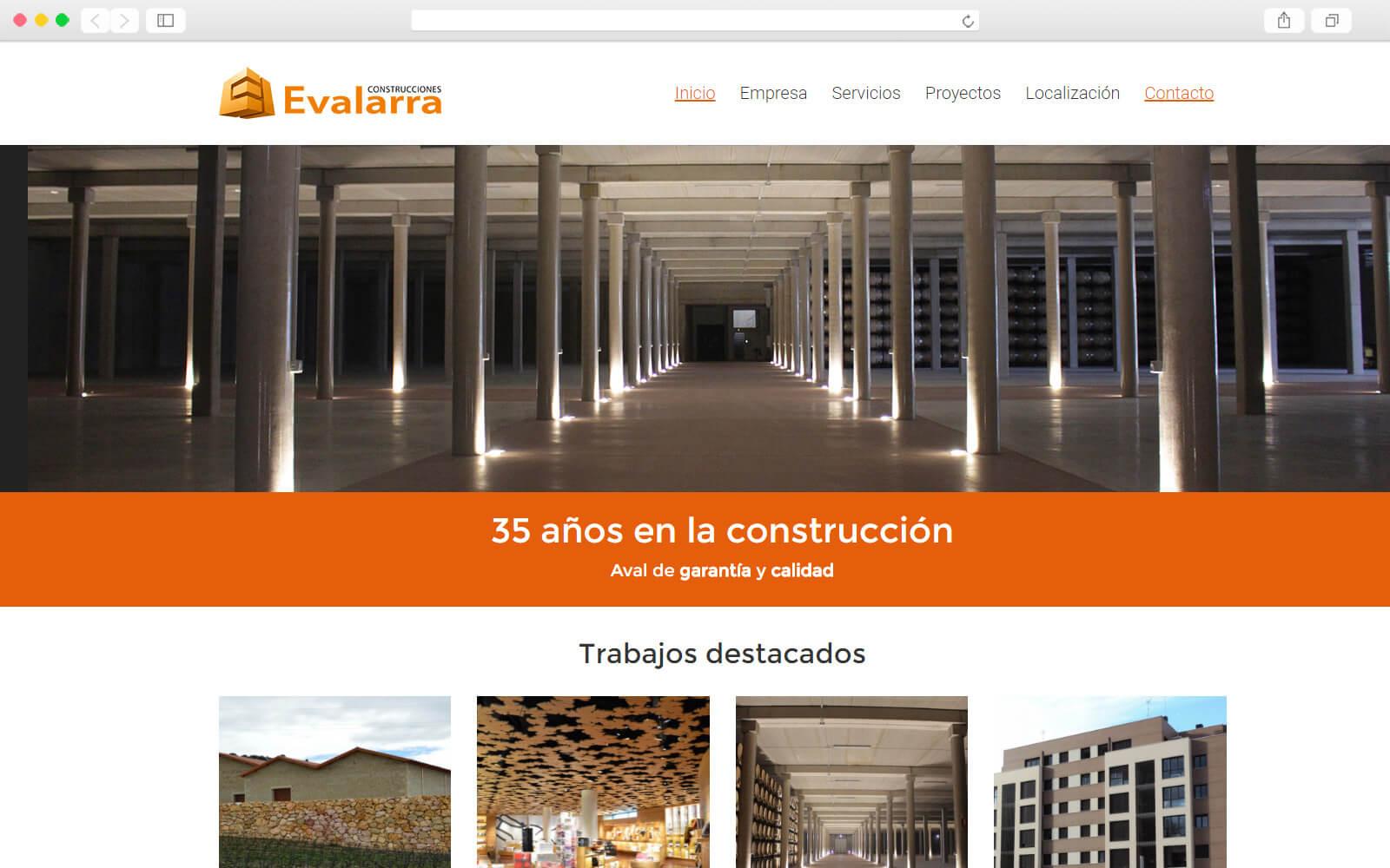 Home page de Construcciones Evalarra
