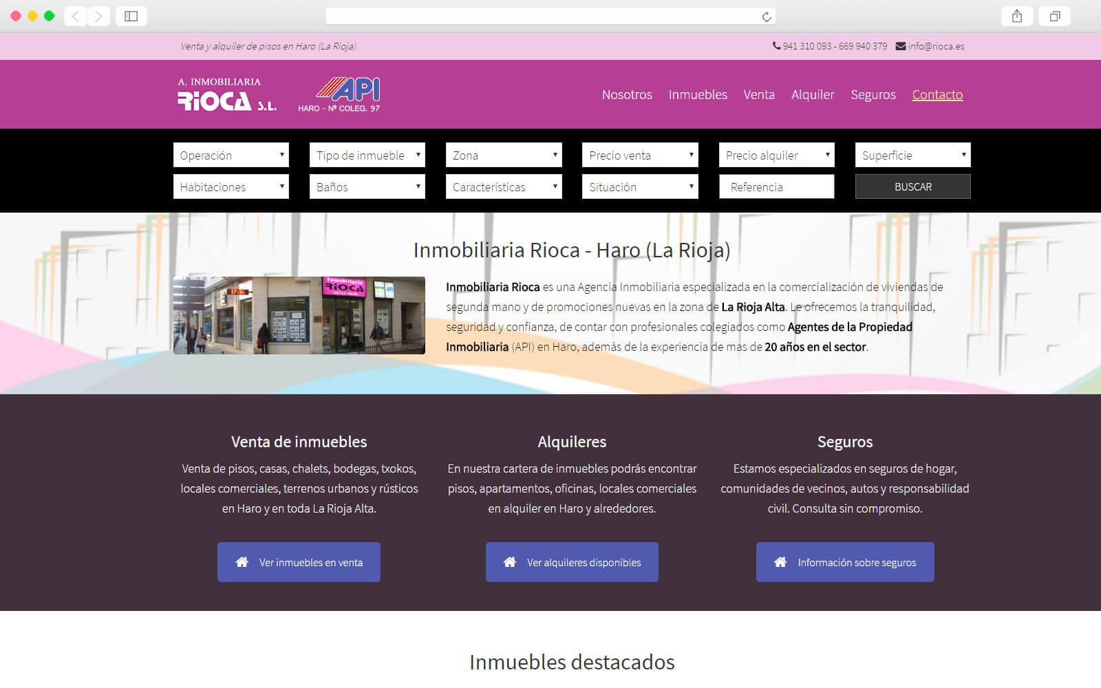 Home page Inmobiliaria RIOCA
