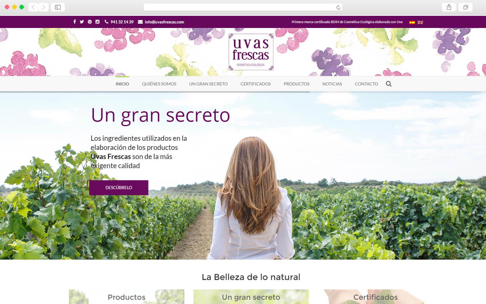 Desarrollo web para cosmética Uvas Frescas