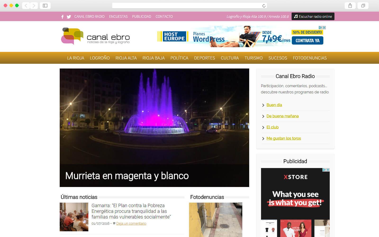 Home page de Canal Ebro Radio