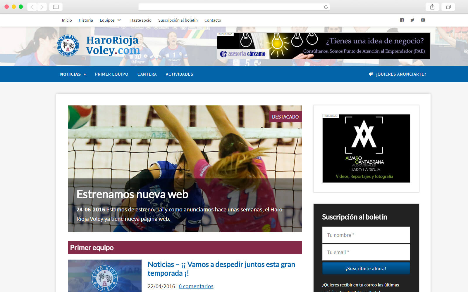 Home page del Club de Voley de Haro