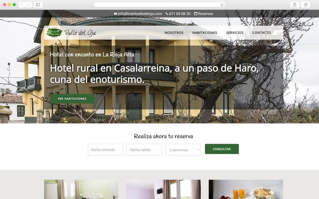 Home page del Hotel Valle del Oja