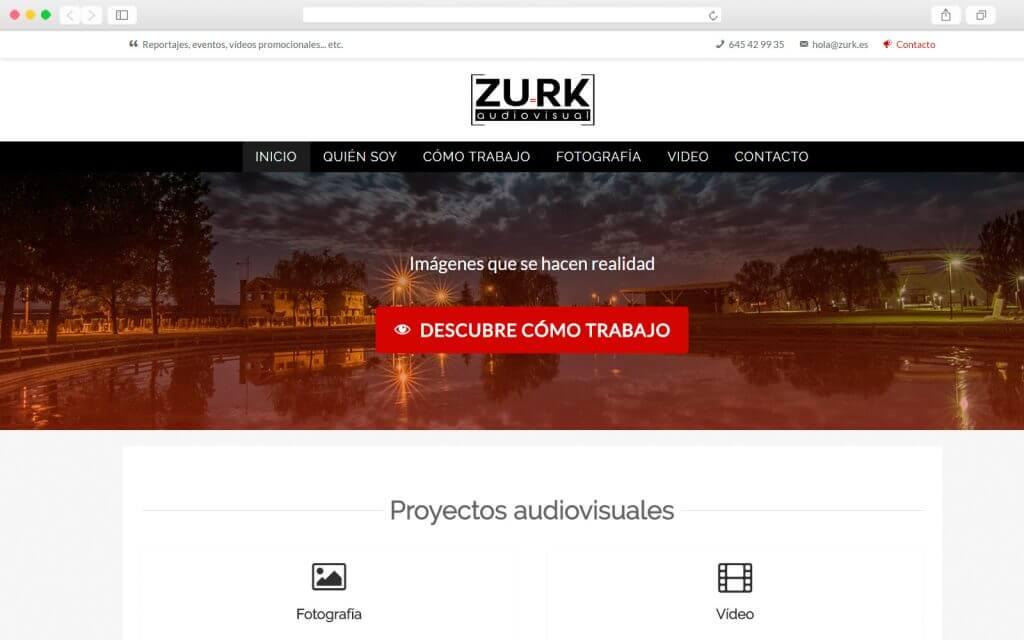 Trabajo de desarrollo Web para Zurk Audiovisual