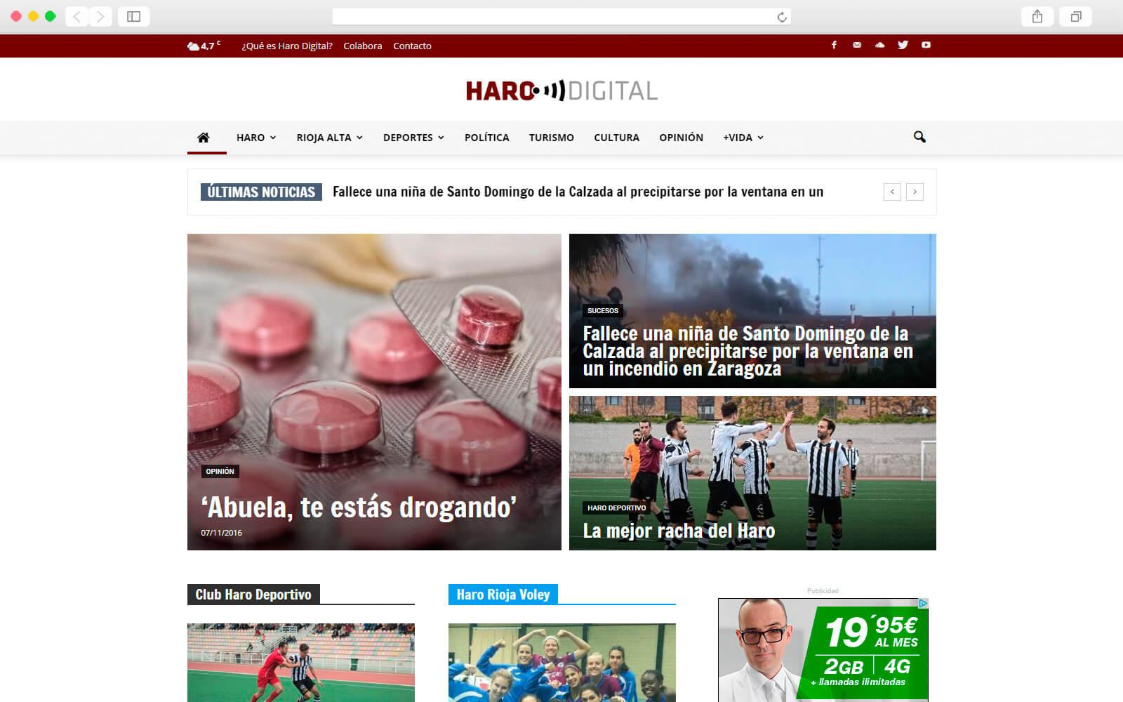 Home del periódico digital Radio Haro