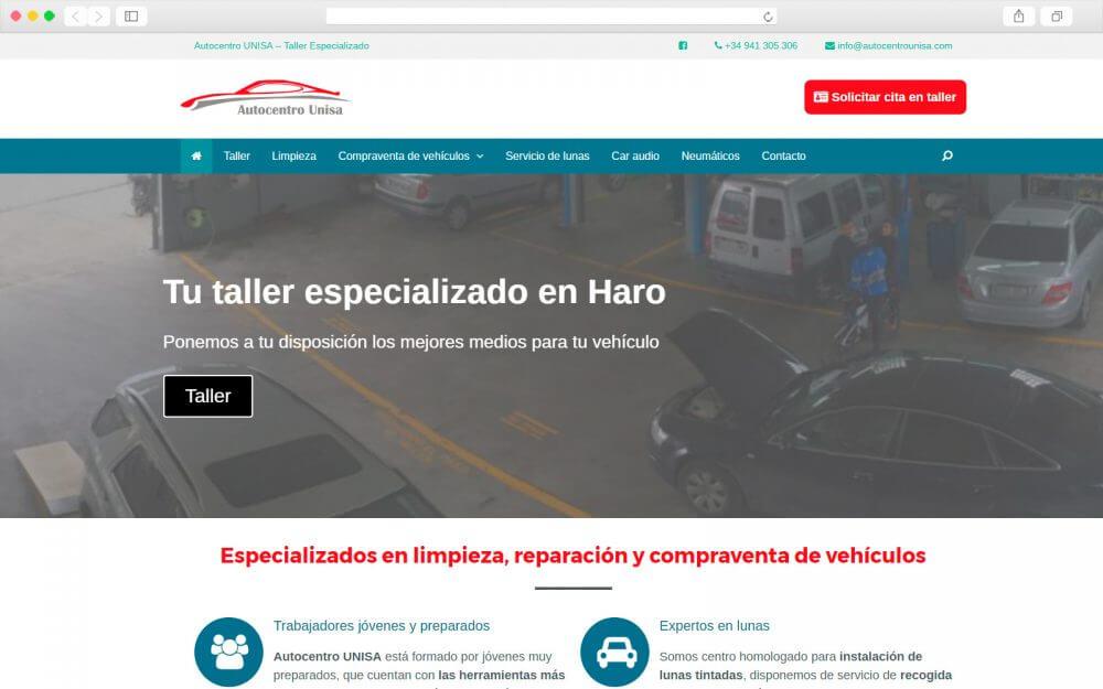 Creación de sitio Web para Autocentro Unisa