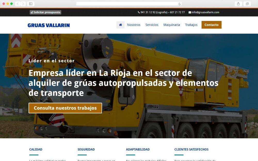 Desarrollo web para Grúas Vallarin