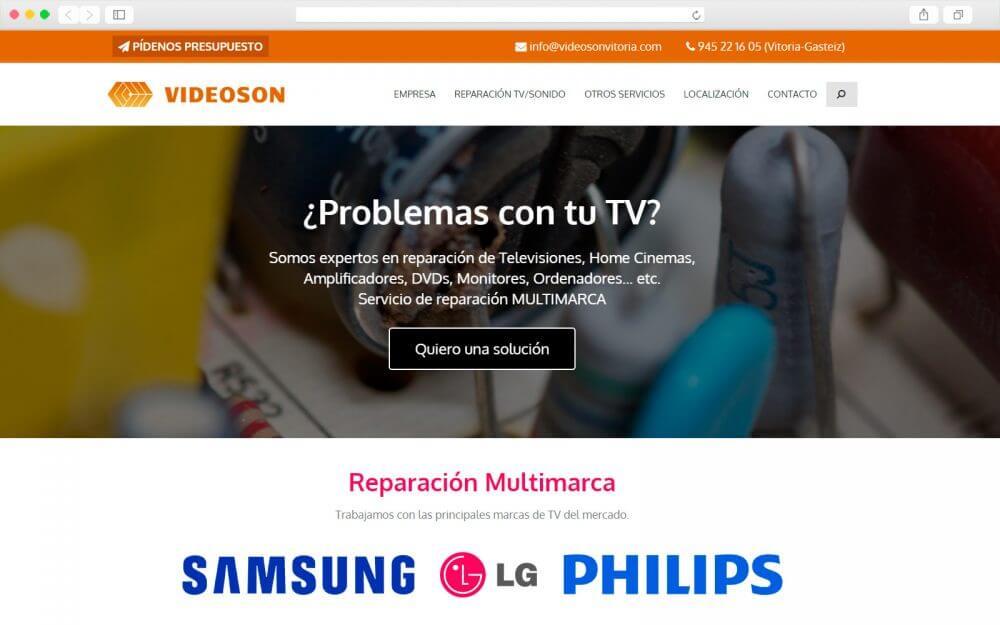 Desarrollo del sitio Web de Videoson Vitoria