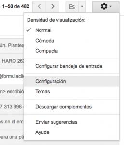 Botón de configuración de la cuenta de gmail