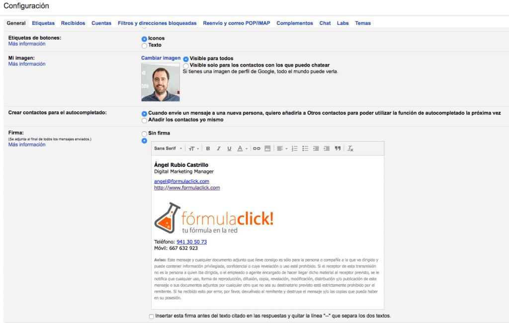 Opciones de configuración de gmail