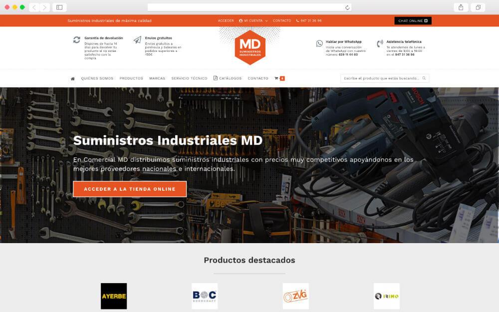 Desarrollo de ecommerce para Suministros Industriales MD