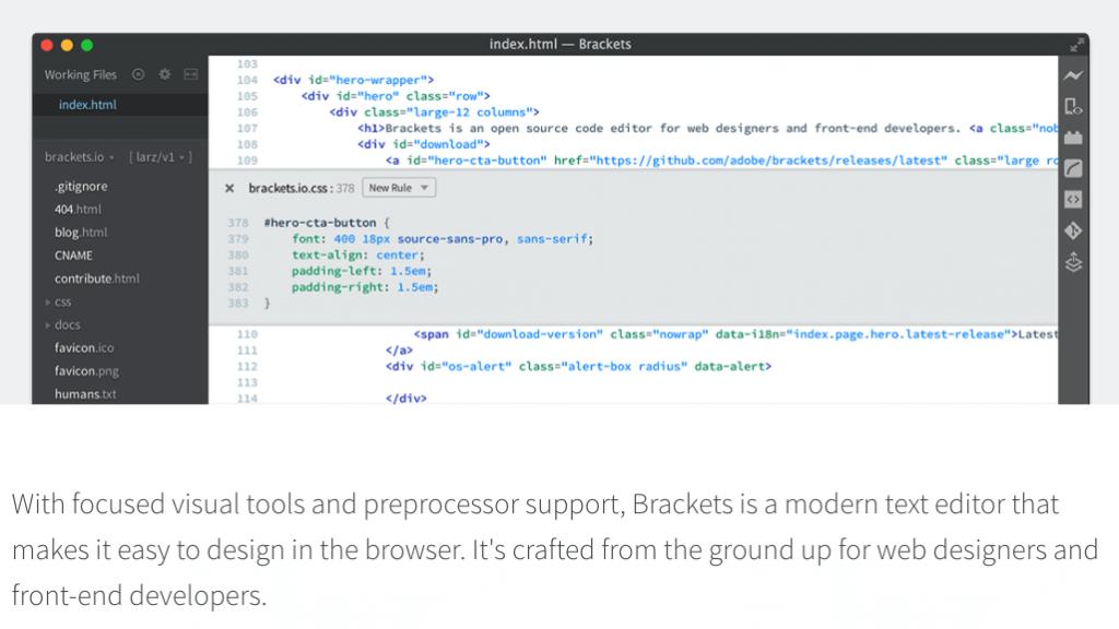 Captura de pantalla de la Web de Brackets